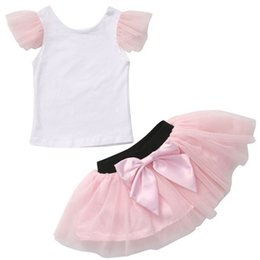 mother daughter tutu skirts UK - Mother Daughter Dresses 2Pcs T-shirt +Mesh Tutu Skirt Family Matching Mom And Daughter Outfits Dress Bow Patchwork Party Dress AD123