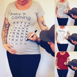 81600e8b40fc2 Puseky Baby Is Coming Print Women Maternity Clothing Pregnant Short T shirt  Funny Top for photography photo shoot Plus Size