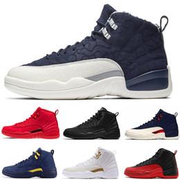 newest 97424 a4662 Großhandel 12s Mens Basketball Schuhe 12 Jumpman Red Bulls WNTR Michigan  Wntr Gym Rot NYC OVO XII Designer Schuhe Sport Sneakers Trainer Größe 7 13  Von ...