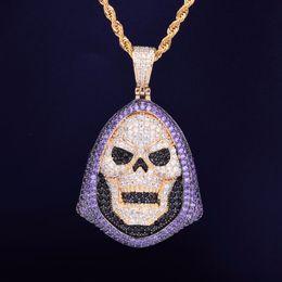 $enCountryForm.capitalKeyWord Australia - Hip Hop Hoody Skull Purple Stone Pendant Necklace Tennis Chain Gold Silver Cubic Zirconia Rock Jewelry