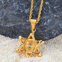 $enCountryForm.capitalKeyWord NZ - Eye Pendant Necklace 18K Gold Plated Hiphop Jewelry Ice Out Men Hip Hop David Star Necklace With Pendants
