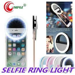Discount universal phone flash box Universal Selfie Light Ring LED Rechargeable Flash Clip Camera for iP 7 8 X HTC Samsung Phones with Retail Box