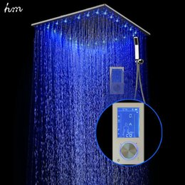 "digital shower sets Australia - hm Intelligent Digital Display Rain Shower Set Installed in wall 2 Jets LED 24"" Rainfall Thermostatic Touch Panel Mixer 20170609"