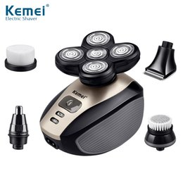 shavers for head Australia - Kemei Multifunction 5 In 1 Electric Shaver 5 Rotating Blade Heads Razor Nose Ear Hair Beard Trimmer Washable Hair Cutting Machine for Men