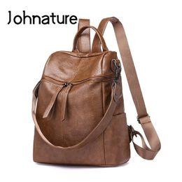 Shoulder Straps Backpack NZ - Johnature New 2019 Solid Soft Handle Zipper Arcuate Shoulder Strap Silt Pocket Softback Vintage Shoulder Bags Women Backpack
