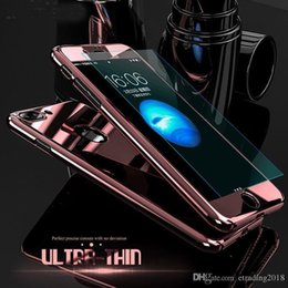 mirror glass iphone case NZ - happy Hybrid 360° Mirror Shockproof Case + Tempered Glass Cover For iPhone case