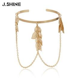 J. Shine boêmio folhas de braço superior Cuff Alloy cadeia encantos pulseiras pulseiras no braço das mulheres moda pulseira jóias acessórios venda por atacado
