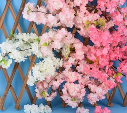 bulk vines UK - Artificial cherry blossom 4 Branches Each Bouquet supper dense blossom multi-color optional wedding decorations silk sakura Home decorations