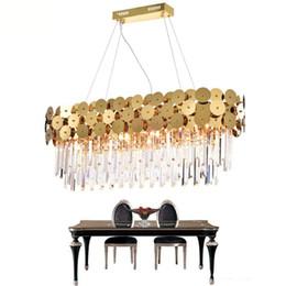 modern kitchen island lighting 2019 - Luxury Modern Crystal Pendant Lights For Dining Room Rectangle Gold Home Crystal Lamp Kitchen Island LED Crystal Pendant