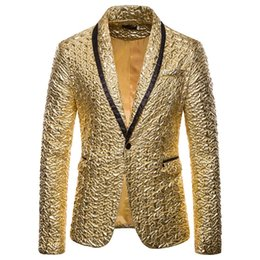 gold fashion men suit Australia - HEFLASHOR Fashion Men Shiny Blazers Gold Glitter Suit Jackets Male Nightclub One Button Suit Blazer DJ Stage Blazers
