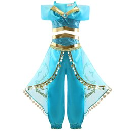 aladdin costumes NZ - Girls Halloween Aladdin Lamp Jasmine Belly Dance Cosplay Costumes Good Quality Girls Christmas Princess Dress Clothes Clothing