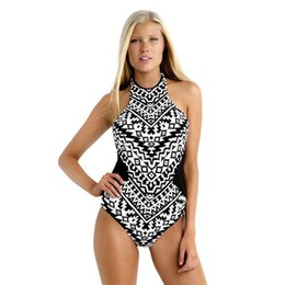 $enCountryForm.capitalKeyWord Canada - 2019 New Plus size Women Swimwear Geometric pattern Swimsuit One Piece Sexy Beach Bathing suits Lace up Monokini Halter Biquini