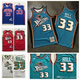 4396734e6 Mens Grant 33 Hill Detroit DET Pistons Mitchell & Ness Road 1998 99 Hardwood  Classic Authentic basketball Jersey