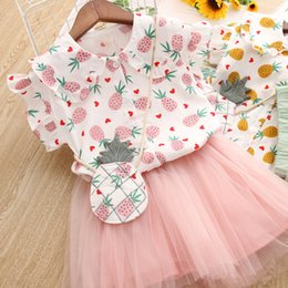 $enCountryForm.capitalKeyWord Australia - Latest design baby girls summer outfits dress set Pineapple printed baby girl cute T-shirt +tutu skirts 2pcs clothing set children mesh set