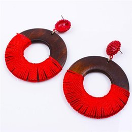 Wholesale Bohemia Wood Earrings For Women Ethnic Big Circle Round Rings Hollow Tassel Earring Vintage Wooden Earing Jewlery