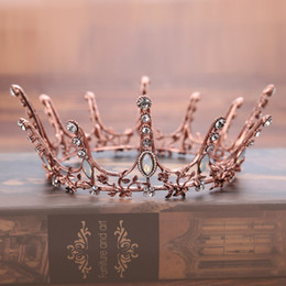 $enCountryForm.capitalKeyWord Australia - Vintage Baroque Round Crown Bridal Wedding Hair Accessories Crystal Rhinestone Big Hair Jewelry Wedding Pageant King Queen Tiara MX190817