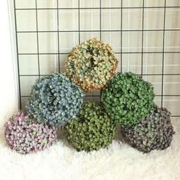 Discount fence decor - 5 Petal Fence Grass Ball Simulation Plastic Flowers Farmhouse Decor Wedding Holding Plant Wall Fake Flowers Garden Decor