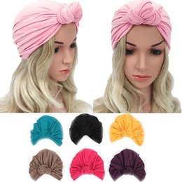 dark red black hair color 2020 - Boho Knotted Hat Women Solid Color multi-colored Cotton Knit Turban Hats Caps Soft Cross Hair Accessories For Ladies che