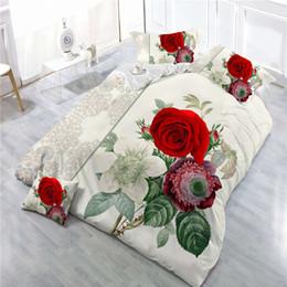 3d Bedding Set White Rose Australia - Twin Full king Queen girls wedding Rose bedding set California king 3D bedsheet Duvet bed cover Pillowcase parure de lit adulte