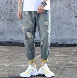 mens bicycles NZ - Hole jeans mens jeans new designer mens jean brand Student jean stretch jeans men trend pants street hip hop riding pants bicycle men jean
