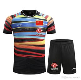 venda por atacado T-shirt dos badminton, roupas de competição, forro de fatos badminton camisas + calções,camisola de ténis de mesa com bandeira chinesa