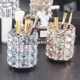 Stationery Australia - 20pcs European Glitter Metal Crystal Pencil Pen Holder Brush Storage Tube Desk Organizer Stationery Container Office Accessories