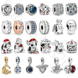 pandora christmas charms Australia - 925 Sterling Silver loose Beads Christmas Charm Fit Original Pandora Bracelet Bangle DIY Jewelry for women red blue clear Zircon 2019 winter