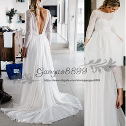 96c0052c302f Vintage-Inspired Hippie Maxi Lace Bohemian Long Sleeve Wedding Dresses 2016  Crochet backless Beach Boho Cheap Wedding Gowns Plus Size
