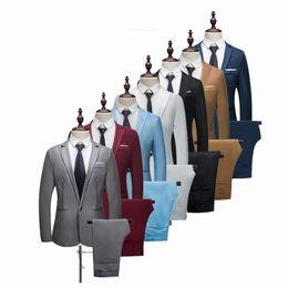 Brand Men Suits Wedding Australia - Vertvie Thin Brand Men Suit Fashion Solid Suit Casual Slim Fit 2 Pieces Mens Wedding Suits Jackets Male Small Asian Size Q190428