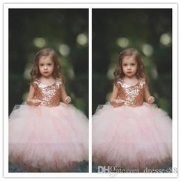 $enCountryForm.capitalKeyWord Australia - communion dress Rose Gold Sequins Blush Tulle Ball Gown Flower Girls' Dresses 2019 Cap Sleeve Puffy Little Girls Formal Wedding Party D