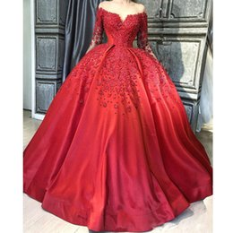 Sheer Nude Red Dress Australia - Unique Red Ball Gown Satin Evening Dresses Sheer Neck Long Sleeve Beading Abriac Dubai Prom Gowns Ruffles Puffy Celebrity Dress