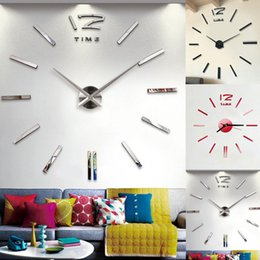 3d Wall Round Sticker Australia - Modern Large 3D Decorative Mirrors Surface Wall Clock Sticker Home Office Room DIY Decor