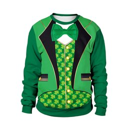 Funny tuxedos online shopping - Funny Fake Two Piece Tuxedo Digital Print St Patrick s Day Sweatshirts for Men Clover Printed St Paddy s Day Sweatshirts