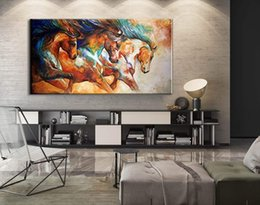$enCountryForm.capitalKeyWord Australia - Pure Hand-Painted Modern Abstract Horse Oil Painting On Canvas Decorative Painting for Living Room home decoration 24x48inch