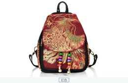 Chinese  2019 national fashion embroidery new women's bag, peacock embroidery bag, canvas women's backpack 2906 manufacturers
