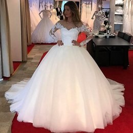 Discount modest simple corset wedding dress - Off the Shoulder Long Sleeves Ball Gown Wedding Dress with Beads Sequins Puffy Wedding Gown Corset Back Modest Bridal Dr