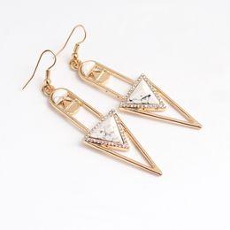 $enCountryForm.capitalKeyWord Australia - Triangle Geometric Fashion Unique Dangle Earrings White Red Blue Rhinestone Eardrop With Ear Hooks