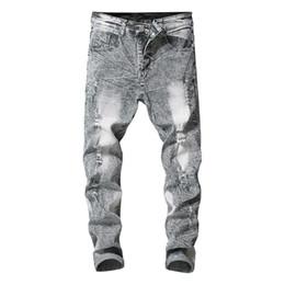 $enCountryForm.capitalKeyWord UK - 2019 New Men's Stretchy Ripped Skinny Biker Jeans Destroyed Taped Slim Fit Denim Pants Fashion High Quality Gift Hot Sale
