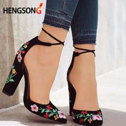 $enCountryForm.capitalKeyWord Australia - Designer Dress Shoes 41 Plus Size Women Embroidery Pumps Pointed Toe Lace Up Cross-tie Women High Heels Elegant Ladies Woman Zapatos Mujer