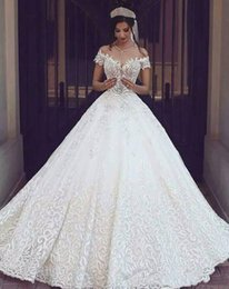 Vintage Dress For Muslim Australia - Vintage Arabic Lace Ball Gown Wedding Dresses For Bride New 2019 Sexy Off the Shoulder Applique Floor Length Garden Brida Gowns Plus Size