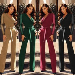 green long sleeve pants jumpsuit Australia - Lace Patchwork Jumpsuti Women Sexy V Neck Long Sleeve Jumpsuits Rompers Style Elegant Work Wear Slim Wide Leg Pants Playsuits