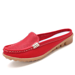 $enCountryForm.capitalKeyWord Canada - Fashion New Arrival Solid Color Women's Summer Slippers Comfortable Genuine Leather Slippers Ladies Slip On Flats Clogs Shoes
