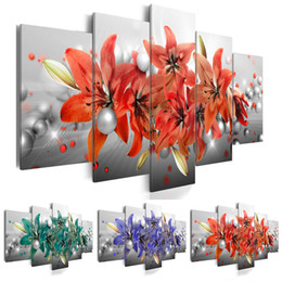 Painting Lily Australia - (No Frame)5PCS Set Flower Fashion Wall Art Canvas Painting Pearl Lilies Flower Modern Home Decoration,Choose Color:3(red,green,blue) And Siz