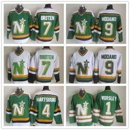 81e92d2c291 Vintage Minnesota North Stars Hockey Jerseys 1 Gump Worsley 9 Mike Modano 4  Craig Hartsburg 7 Neal Broten Dallas CCM Green White Stitched