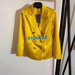 $enCountryForm.capitalKeyWord Australia - high end women girls silk style blazer jacket suit double breasted long sleeve shirt top quality runway fashion design luxury top outerwear