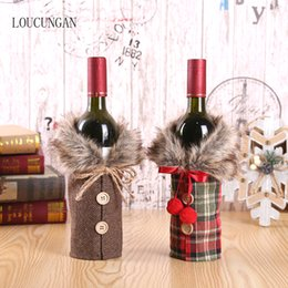 black gold table decorations Australia - New Year 2020 Christmas Wine Bottle Dust Cover Santa Claus Gift Bags Xmas Noel Christmas Decorations for Home Dinner Table Decor