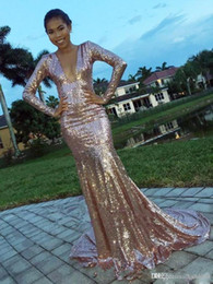 Cheap stunning evening dresses online shopping - New Stunning Pink Sequin Mermaid Prom Dresses Long Sleeves Sexy Deep V Prom Gowns Sweep Train Cheap Formal Evening Dresses Online Sale AW361