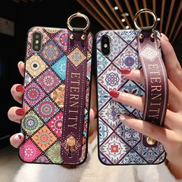 Vintage Tpu Case Australia - Wrist Strap Soft TPU Phone Case For iphone 7 8 plus Case For iphone X Xs max XR Vintage Flower Pattern Holder Case