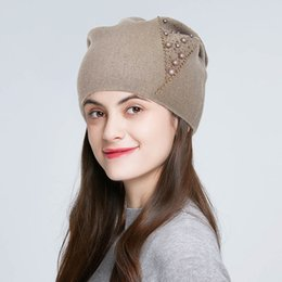knitted wool beanies NZ - ENJOYFUR winter knitted hats for women fashion bead rhinestone girl wool beanies warm thick female solid color outdoor skullies