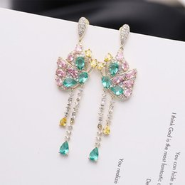 butterfly tassel earrings UK - 2020 Korean version of the new ultra-luxury flash butterfly tassel earrings temperament ladies evening gown bride earrings ear jewelry